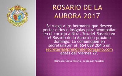Participación de los hermanos en el Rosario de la Aurora 2017