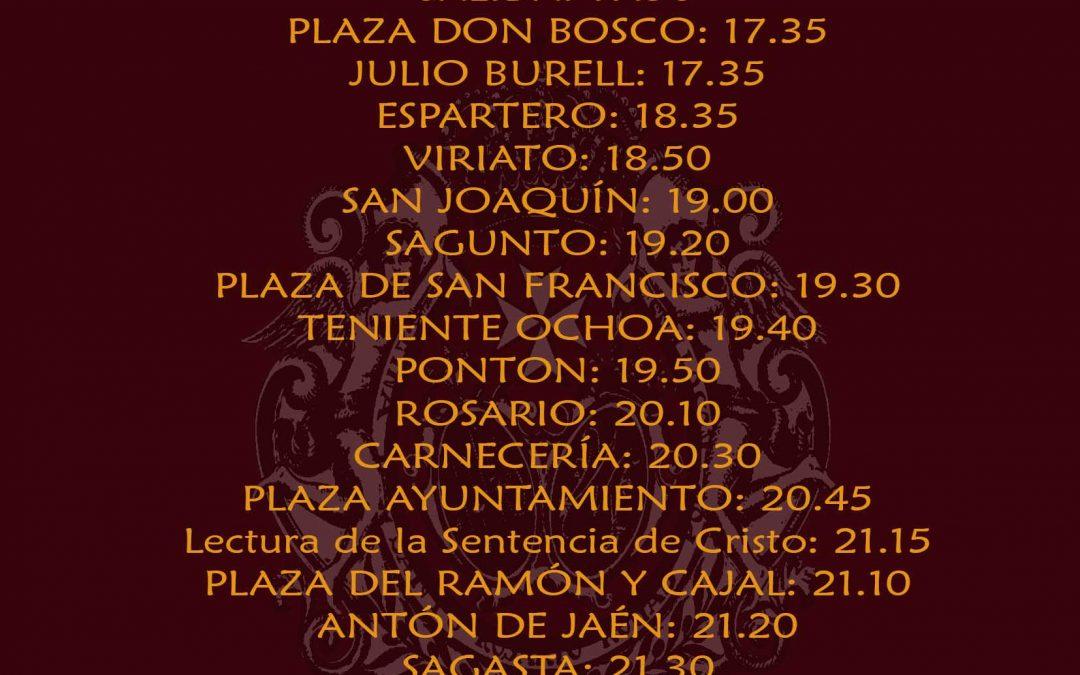 Horario e Itinerario para la Estación de Penitencia del próximo Jueves Santo 2018