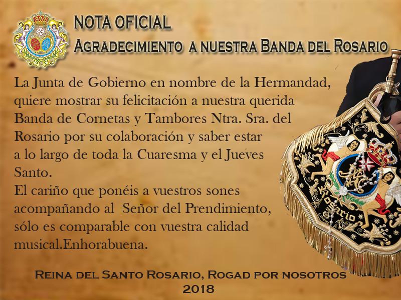 Nota Oficial. Agradecimiento a nuestra Banda del Rosario.