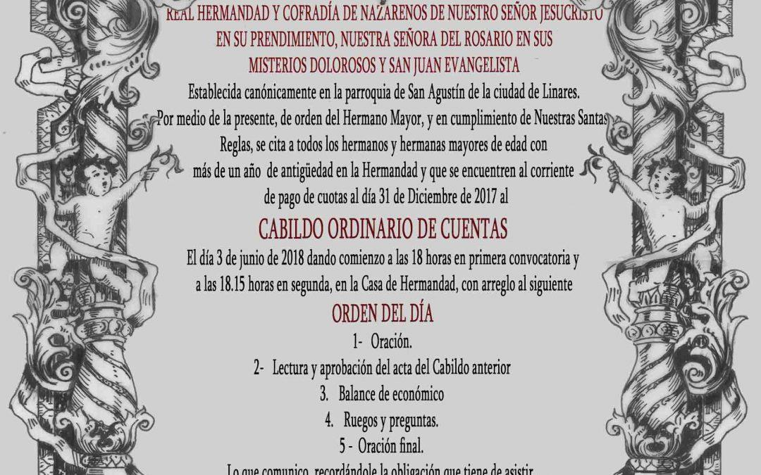 Hoy Cabido General Ordinario de Cuentas a las 18 horas
