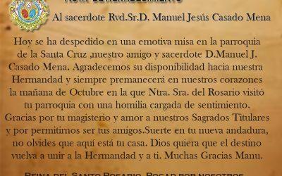 Nota de agradecimiento al Sacerdote Rvd. Sr. D. Manuel J.Casado Mena