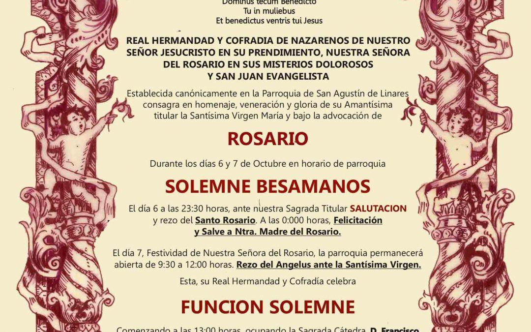 Orden de Cultos de la Festividad de Ntra. Sra. del Rosario