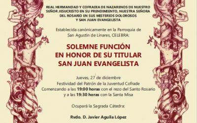 Hoy Eucaristía por San Juan Evangelista y mañana Cartero Real
