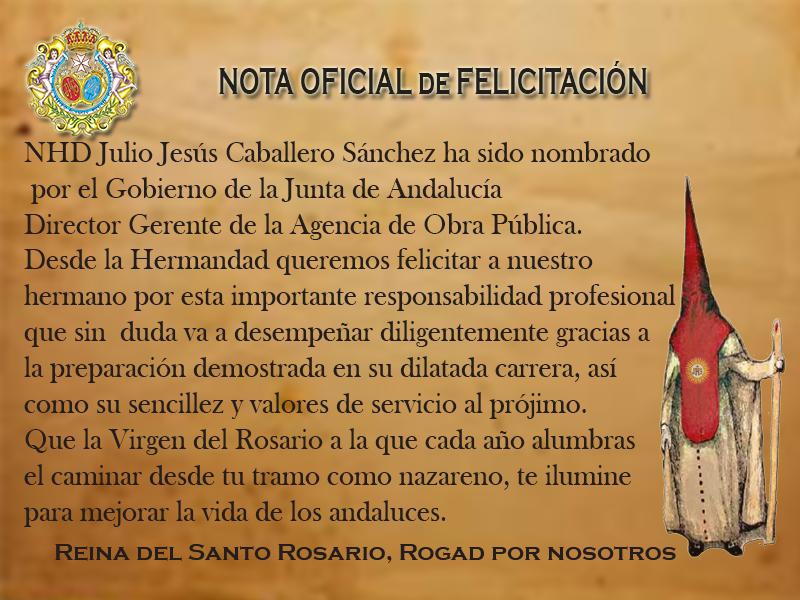 Nota Oficial de Felicitación a NHD Julio Jesús Caballero Sánchez