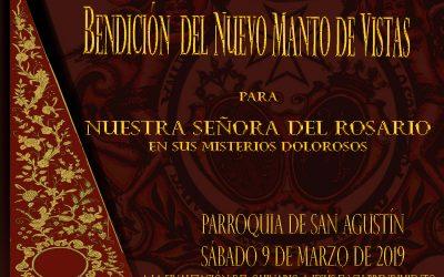 Bendición del nuevo Manto de Vistas para la Virgen del Rosario el próximo sábado