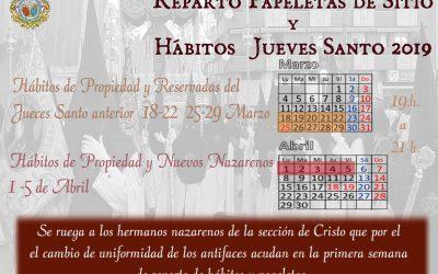 Comienzo de Reparto de Papeletas de Sitio y Hábitos. Calendario.
