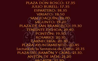 Horario e Itinerario para el próximo Jueves Santo 2019