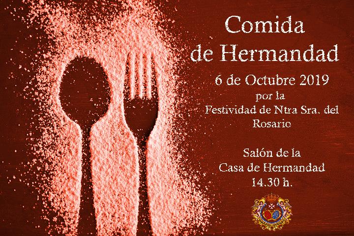 Comida de Hermandad el 6 de Octubre domingo en la Casa de Hermandad